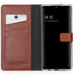 Selencia Echtleder Booktype Hülle Samsung Galaxy A42 - Hellbraun
