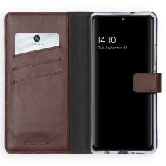 Selencia Echtleder Booktype Hülle Samsung Galaxy A42 - Braun