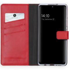 Selencia Echtleder Booktype Hülle Samsung Galaxy A42 - Rot