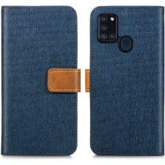 iMoshion Luxuriöse Canvas-Klapphülle Samsung Galaxy A21s -Dunkelblau