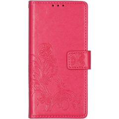 Kleeblumen Booktype Hülle Samsung Galaxy A21s - Fuchsia