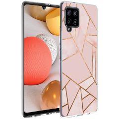 iMoshion Design Hülle Galaxy A42 - Grafik-Kupfer - Rosa / Gold