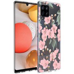 iMoshion Design Hülle Samsung Galaxy A42 - Blume - Rosa / Grün