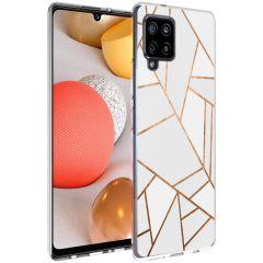 iMoshion Design Hülle Galaxy A42 - Grafik-Kupfer - Weiß / Gold