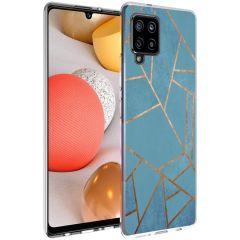 iMoshion Design Hülle Galaxy A42 - Grafik-Kupfer - Blau / Gold