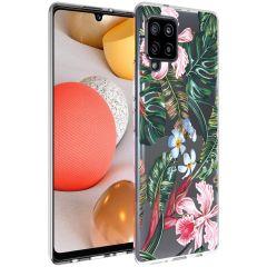 iMoshion Design Hülle Samsung Galaxy A42 - Dschungel - Grün / Rosa