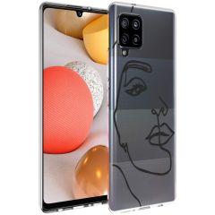 iMoshion Design Hülle Galaxy A42 - Abstraktes Gesicht - Schwarz