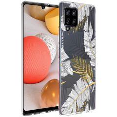 iMoshion Design Hülle Samsung Galaxy A42 - Blätter - Schwarz / Gold
