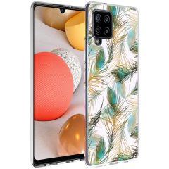 iMoshion Design Hülle Samsung Galaxy A42 - Pfau - Grün / Gold