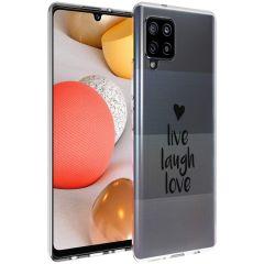 iMoshion Design Hülle Samsung Galaxy A42 - Live Laugh Love - Schwarz