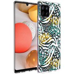 iMoshion Design Hülle Galaxy A42 - Dschungel - Weiß / Schwarz / Grün