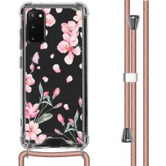 iMoshion Design Hülle mit Band Samsung Galaxy S20 - Blume - Rosa