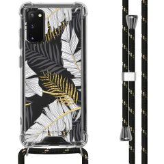 iMoshion Design Hülle mit Band Samsung Galaxy S20 - Blätter - Schwarz