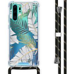 iMoshion Design Hülle mit Band Huawei P30 Pro - Blätter - Schwarz