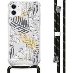 iMoshion Design Hülle mit Band iPhone 11 - Blätter - Schwarz / Gold