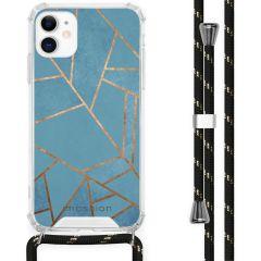 iMoshion Design Hülle mit Band iPhone 11 - Grafik-Kupfer - Blau