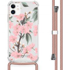 iMoshion Design Hülle mit Band iPhone 11 - Blume - Rosa / Grün