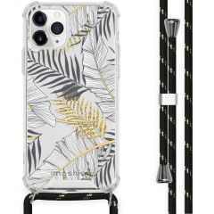 iMoshion Design Hülle mit Band iPhone 11 Pro - Blätter - Schwarz