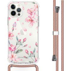 iMoshion Design Hülle mit Band iPhone 12 (Pro) - Blume - Rosa