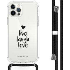iMoshion Design Hülle mit Band iPhone 12 (Pro) - Live Laugh Love