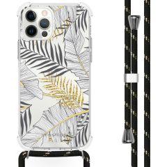 iMoshion Design Hülle mit Band iPhone 12 (Pro) - Blätter - Schwarz