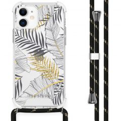 iMoshion Design Hülle mit Band iPhone 12 Mini - Blätter - Schwarz