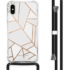 iMoshion Design Hülle mit Band iPhone X / Xs - Grafik-Kupfer - Weiß