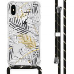iMoshion Design Hülle mit Band iPhone X / Xs - Blätter - Schwarz