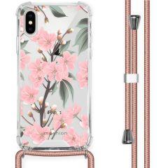iMoshion Design Hülle mit Band iPhone X / Xs - Blume - Rosa / Grün