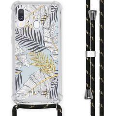 iMoshion Design Hülle mit Band Samsung Galaxy A40 - Blätter - Schwarz