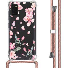 iMoshion Design Hülle mit Band Samsung Galaxy A41 - Blume - Rosa