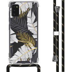 iMoshion Design Hülle mit Band Samsung Galaxy A41 - Blätter - Schwarz