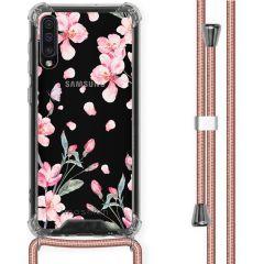 iMoshion Design Hülle mit Band Samsung Galaxy A50 - Blume - Rosa