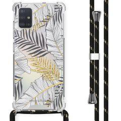 iMoshion Design Hülle mit Band Samsung Galaxy A51 - Blätter - Schwarz
