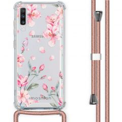 iMoshion Design Hülle mit Band Samsung Galaxy A70 - Blume - Rosa