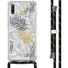 iMoshion Design Hülle mit Band Samsung Galaxy A70 - Blätter - Schwarz