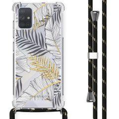 iMoshion Design Hülle mit Band Samsung Galaxy A71 - Blätter - Schwarz