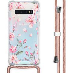 iMoshion Design Hülle mit Band Samsung Galaxy S10 - Blume - Rosa