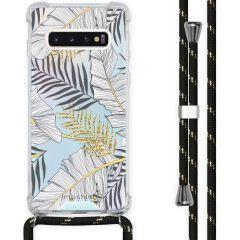 iMoshion Design Hülle mit Band Samsung Galaxy S10 - Blätter - Schwarz