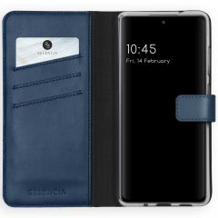 Selencia Echtleder Booktype Hülle Samsung Galaxy S20 FE - Blau