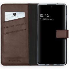 Selencia Echtleder Booktype Hülle Samsung Galaxy S20 FE - Braun