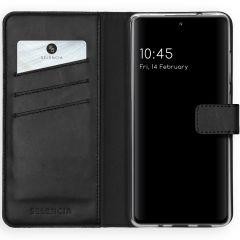 Selencia Echtleder Booktype Hülle Samsung Galaxy S20 FE - Schwarz
