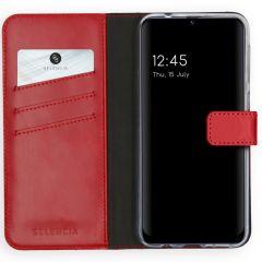 Selencia Echtleder Booktype Hülle Samsung Galaxy M31 - Rot