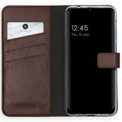 Selencia Echtleder Booktype Hülle Samsung Galaxy M31 - Braun