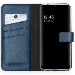 Selencia Echtleder Booktype Hülle Samsung Galaxy M31 - Dunkelblau