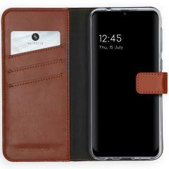 Selencia Echtleder Booktype Hülle Samsung Galaxy M31 - Hellbraun