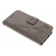 Kleeblumen Booktype Hülle Grau für iPhone 5/5s/SE