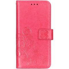 Kleeblumen Booktype Hülle Fuchsia Samsung Galaxy A10