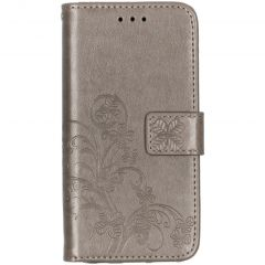 Kleeblumen Booktype Grau Hülle Samsung Galaxy A20e