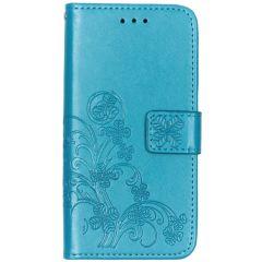Kleeblumen Booktype Türkis Hülle Samsung Galaxy A20e